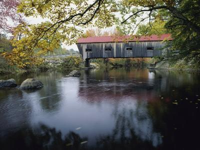 Tranquil Scene with Covered Bridge--Photographic Print