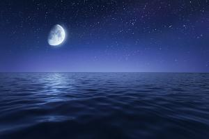 Tranquil Seas Against Rising Moon in a Starry Sky, Crete, Greece