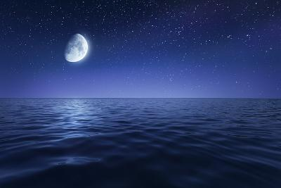 Tranquil Seas Against Rising Moon in a Starry Sky, Crete, Greece--Photographic Print
