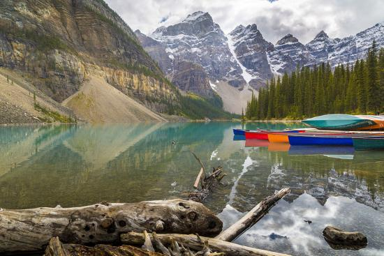 Tranquil setting of rowing boats on Moraine Lake, Banff National Park, UNESCO World Heritage Site, -Frank Fell-Photographic Print