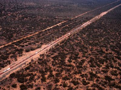 Trans-Continental Railway Line Crossing Outback, Australia-Diana Mayfield-Photographic Print