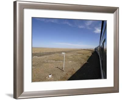 Trans-Mongolian Train Travelling Through the Gobi Desert En Route to Ulaan Baatar, Mongolia-Andrew Mcconnell-Framed Photographic Print