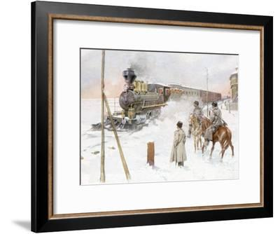 Trans-Siberian Railway Train Pulling Out of Station in Snowy Landscape--Framed Premium Photographic Print
