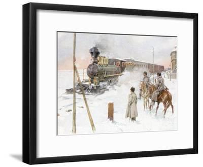 Trans-Siberian Railway Train Pulling Out of Station in Snowy Landscape