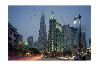 Transamerica Building, Zoetrope Café San Night - Iconic Landmark Buildings California-Henri Silberman-Photographic Print