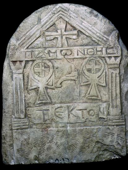 Transitional Coptic funerary Stela, 3rd Century. Artist: Unknown-Unknown-Giclee Print