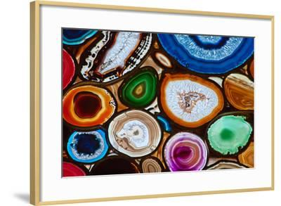 framed agate slices.htm translucent mosaic made with slices of agate stone  photographic  translucent mosaic made with slices of