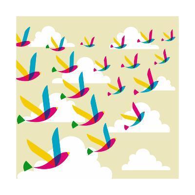Transparent Birds Pattern-cienpies-Art Print