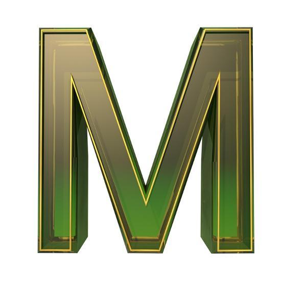Transparent Emerald Green Alphabet With Gold Edging, 3D Letter M Isolated On White Art Print by Andriy Zholudyev   Art.com