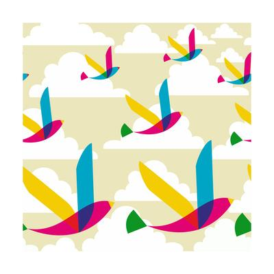 Transparent Multicolored Birds Pattern-cienpies-Art Print