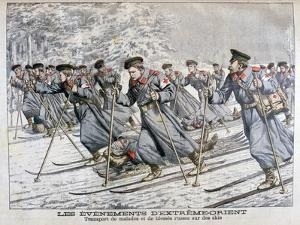 Transporting Sick and Wounded Russian Troops on Skis, Russo-Japanese War, 1904