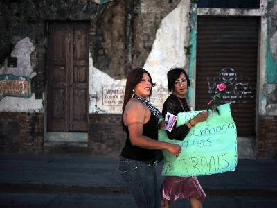 Transsexuals March in Guatemala City On-Eitan Abramovich-Photographic Print