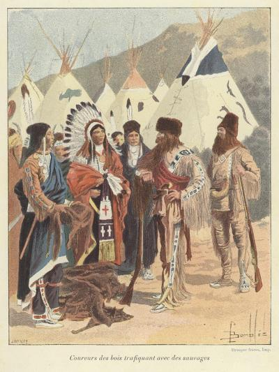 Trappers Trading with Native Americans, New France-Louis Charles Bombled-Giclee Print