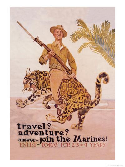 Travel? Adventure? Join the Marines-James Montgomery Flagg-Art Print