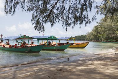 Travel Boats Moored on Bamboo Island, Sihanoukville, Cambodia, Indochina, Southeast Asia, Asia-Charlie Harding-Photographic Print