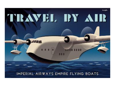 Travel By Air, Imperial Airways Empire Flying Boat-Michael Crampton-Art Print