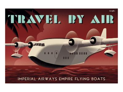 Travel By Air, Imperial Airways Empire Flying Boat-Michael Crampton-Art Print