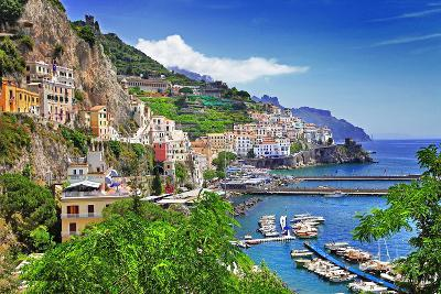 Travel In Italy Series - View Of Beautiful Amalfi-Maugli-l-Photographic Print