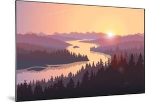 Travel Landscape with a Large River Running among Forested Hills at Sunrise. Vector Illustration Of