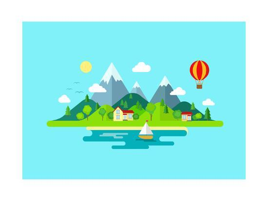 Travel Mountains Island Landscape and Sailing Color Flat Vector Icon Nature Weather Concept Templat- Sentavio-Art Print