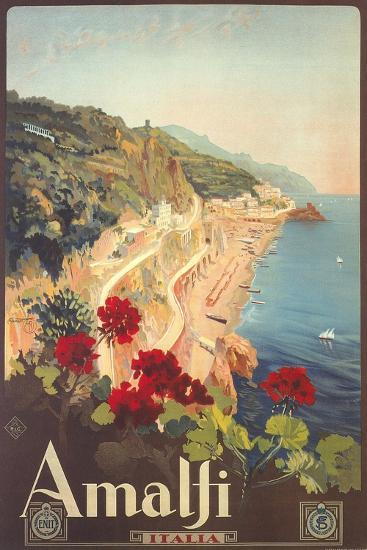 Travel Poster for Amalfi--Art Print