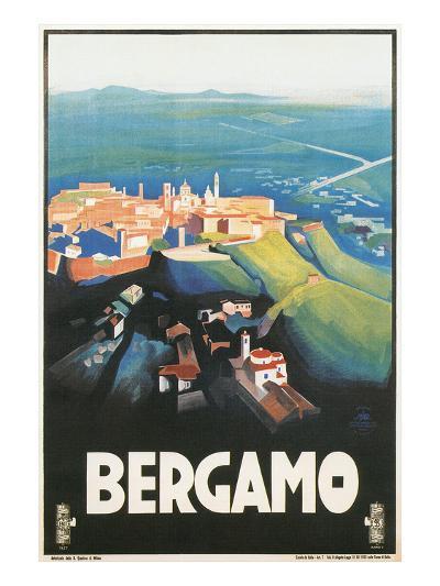 Travel Poster for Bergamo, Italy--Art Print