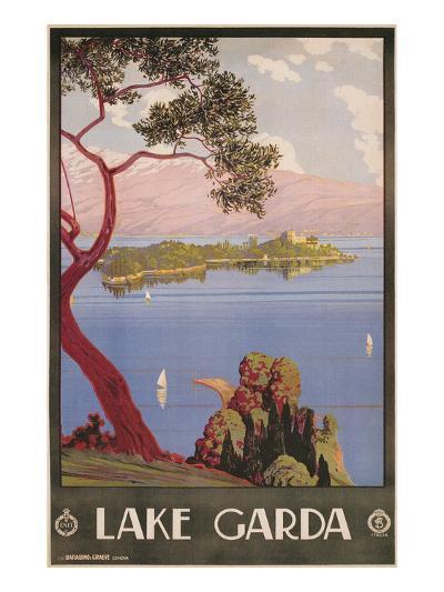 Travel Poster for Lake Garda, Italy--Art Print