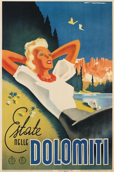 Travel Poster for the Italian Dolomites-Franz Lenhart-Art Print
