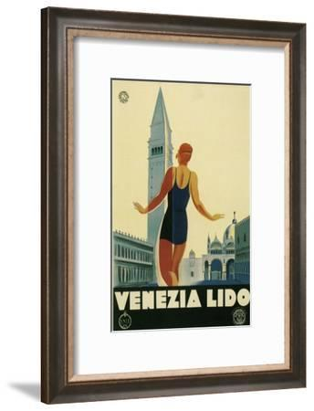 Travel Poster for the Lido, Venice, Italy-Found Image Press-Framed Giclee Print