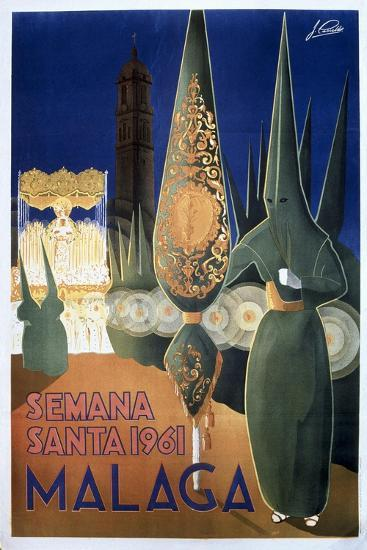 Travel Poster of the Holy Week in Malaga (1961)--Art Print