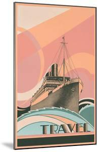 Travel Poster with Ocean Liner