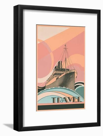 Travel Poster with Ocean Liner--Framed Art Print