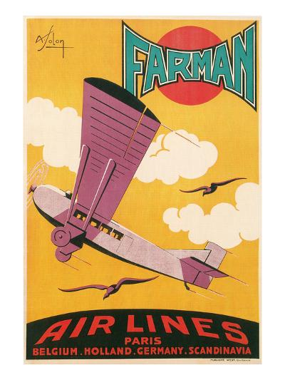 Travel Poster with Purple Airplane--Art Print