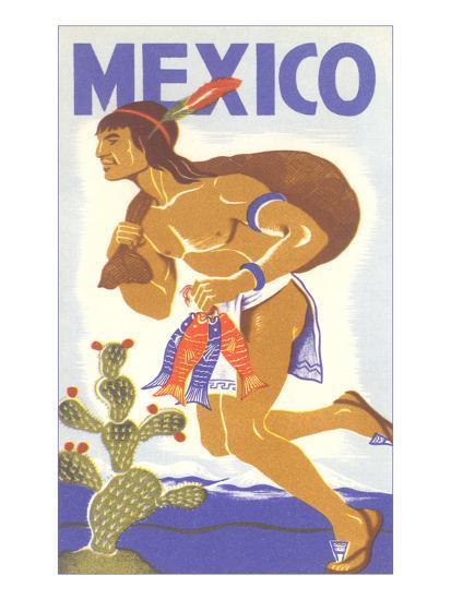 Travel Poster with Tarahumara Indian Running--Art Print
