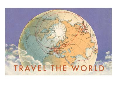 Travel the World, Globe with Routes--Art Print