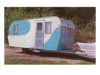 Travel Trailer Hooked to Car with Fins--Art Print