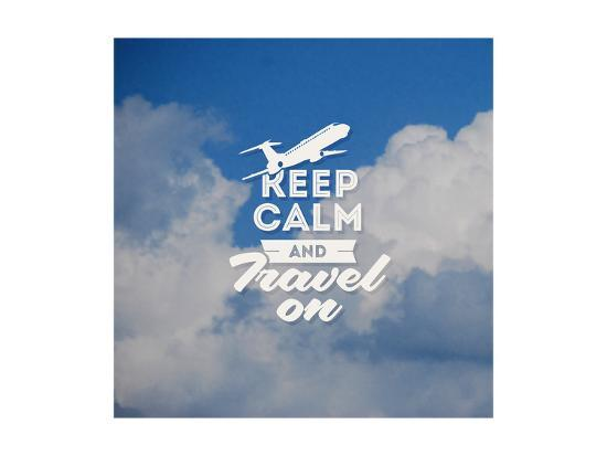 Travel Type Design with Clouds Background-vso-Art Print