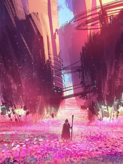 Traveler Standing in Pink Flowers Field,Digital Painting,Illustration-Tithi Luadthong-Art Print
