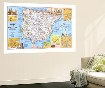 Travelers Map Of Spain And Portugal Map 1984 Side 1-National Geographic Maps-Wall Mural