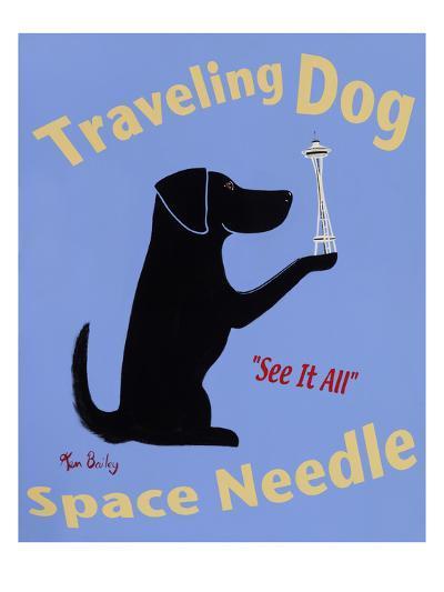 Traveling Dog, Space Needle-Ken Bailey-Premium Giclee Print