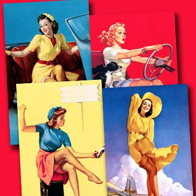 Traveling Pin-Ups-Piddix-Art Print