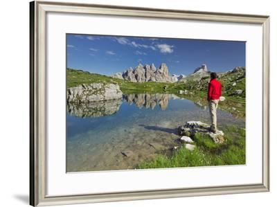 Traveller, Lake, Rautkofel, Schwalbenkofel, Langalm, South Tyrol, the Dolomites Mountains, Italy-Rainer Mirau-Framed Photographic Print