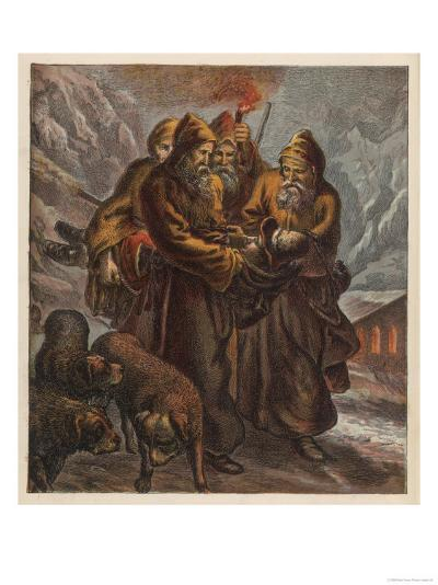 Traveller on the Pass of Saint Bernard is Saved by Dogs and Monks--Giclee Print
