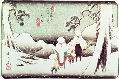 'Travellers in the Snow at Oi', from the Series '69 Stations of Kisokaido', Pub. Late 1830's-Ando Hiroshige-Giclee Print