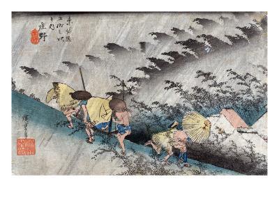 Travellers near the Shono Station on the Tokkaido Road, Japanese Wood-Cut Print-Lantern Press-Art Print