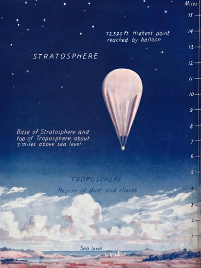 'Travelling 14 Miles Up In The Stratosphere', 1935-Unknown-Giclee Print