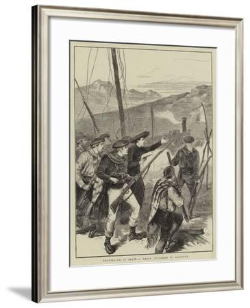 Travelling in Spain, a Train Attacked by Carlists-Joseph Nash-Framed Giclee Print