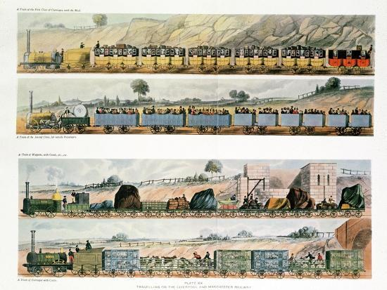 Travelling on the Liverpool to Manchester Railway; Plate Xx Ttob; a Train of the First Class of…--Giclee Print