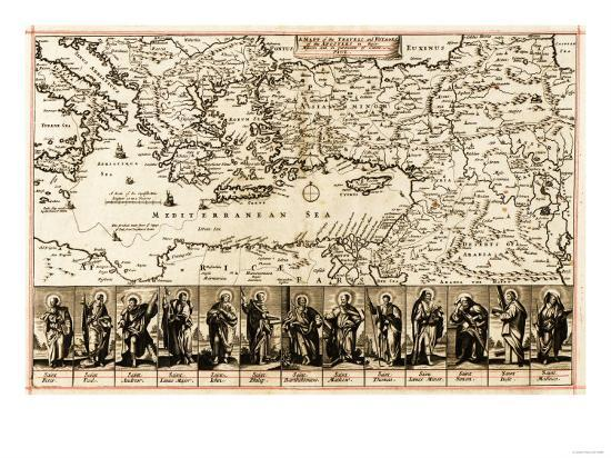 Travels of the Apostle Paul - Panoramic Map-Lantern Press-Art Print