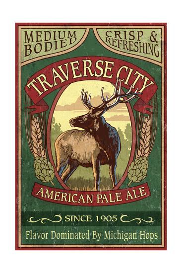 Traverse City, Michigan - Elk Head Pale Ale Vintage Sign-Lantern Press-Art Print
